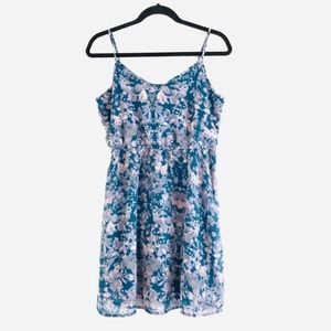 frenchi Blue & Lavender Floral Print Summer Dress